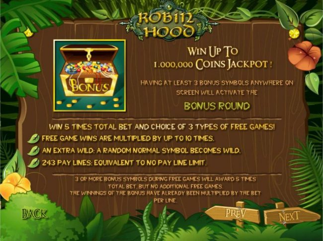 X-Bet featuring the Video Slots Robin Hood with a maximum payout of $1,000,000