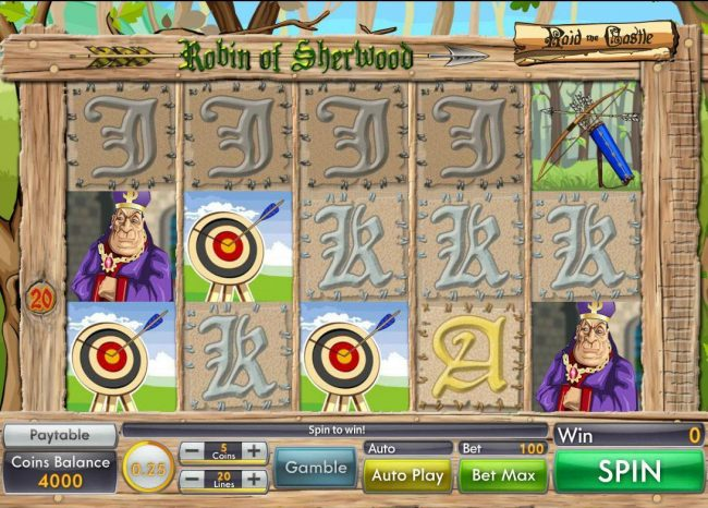 Robin of Sherwood :: Main game board featuring five reels and 20 paylines with a $10,000 max payout.