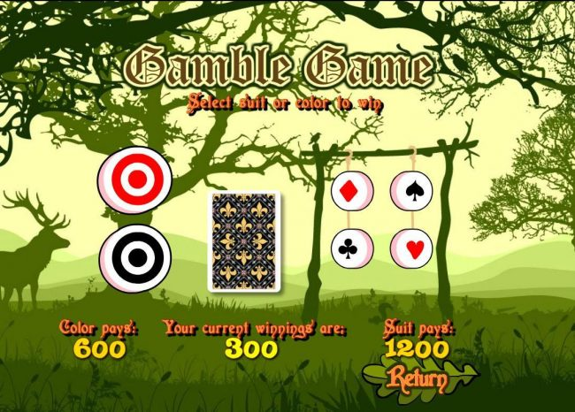 Robin of Sherwood :: Gamble Feature - To gamble any win press Gamble then select Red or Black or Suit