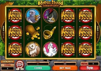 Royal Vegas featuring the Video Slots Robin Hood Feathers of Fortune with a maximum payout of $121,500