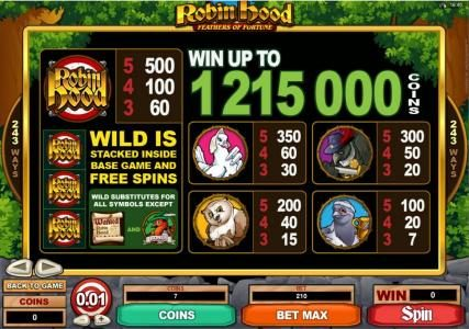 Play slots at Quatro: Quatro featuring the Video Slots Robin Hood Feathers of Fortune with a maximum payout of $121,500
