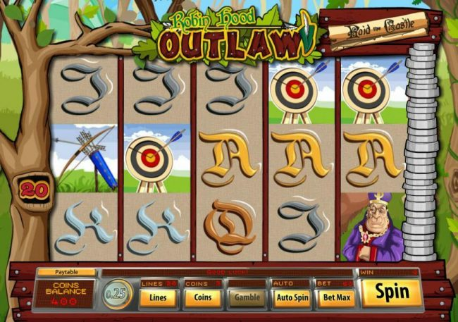 Big Dollar featuring the Video Slots Robin Hood Outlaw with a maximum payout of $10,000
