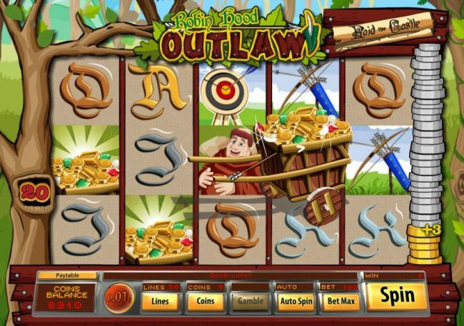 Mandarin featuring the Video Slots Robin Hood Outlaw with a maximum payout of $10,000