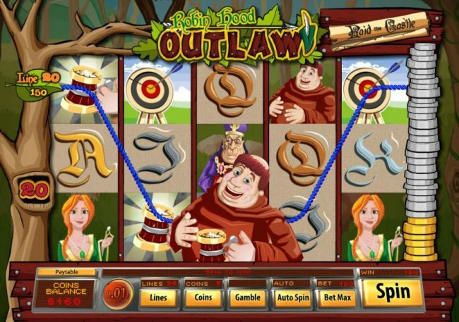 Bella Vegas featuring the Video Slots Robin Hood Outlaw with a maximum payout of $10,000