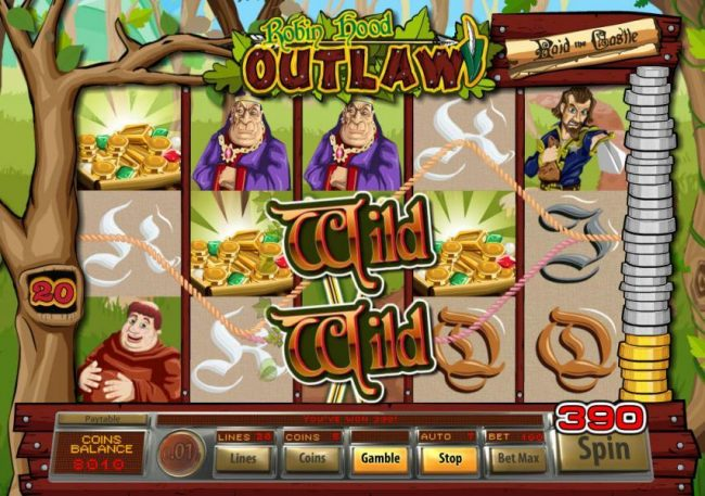 Treasure Island Jackpots featuring the Video Slots Robin Hood Outlaw with a maximum payout of $10,000