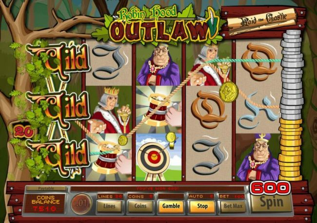 Planet Casino featuring the Video Slots Robin Hood Outlaw with a maximum payout of $10,000