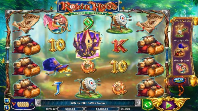 Robin Hood Prince of Tweets :: Main game board featuring five reels and 40 paylines with a $16,000 max payout