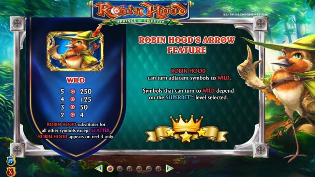 Robin Hood Prince of Tweets :: Wild symbol paytable. Robin Hoods Arrow Feature - Robin Hood can turn adjacent symbols to wild. Symbols that can turn to wild depend on the superbet level selected.