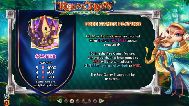 Robin Hood Prince of Tweets :: Scatter symbol paytable - 15, 20 or 25 free games are awarded when 3, 4 or 5 scatters appears respectively.