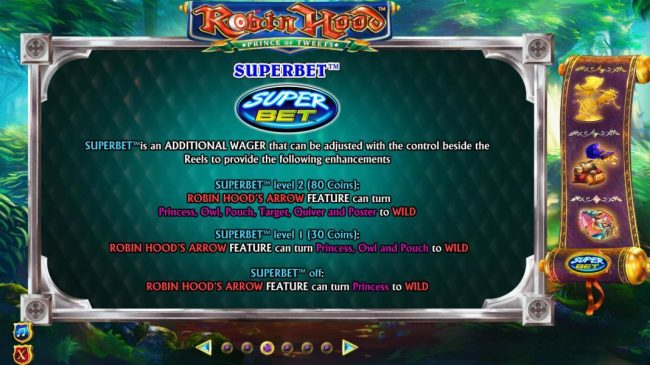 Robin Hood Prince of Tweets :: Superbet is an additional wager that can be adsjusted with the control beside the reels to provide the following enhancements.