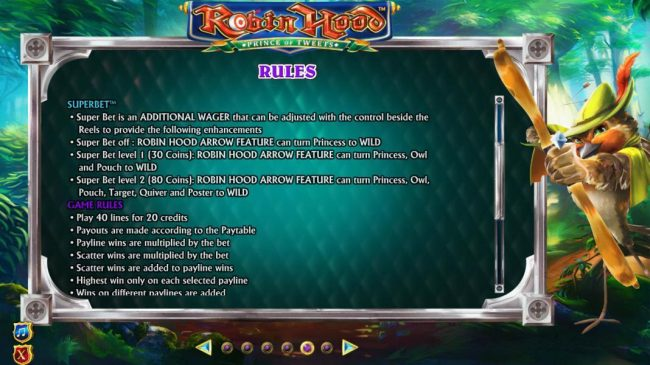 Robin Hood Prince of Tweets :: Superbet rules and general game rules