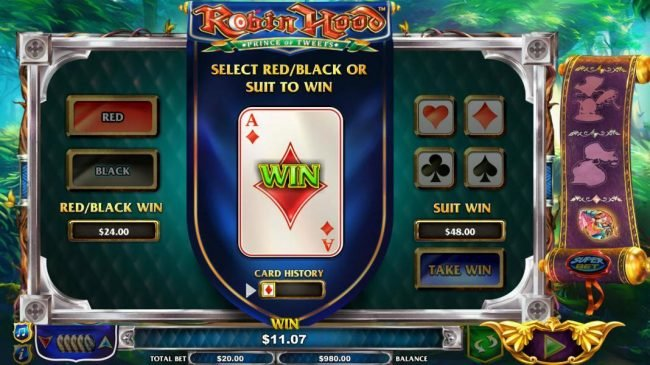 Gamble Feature is available after any winning spins. Select Red/Black or Suit to win.
