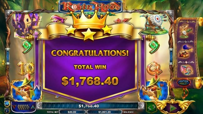 Robin Hood Prince of Tweets :: The free games feature leads to a total win of 1,768.40