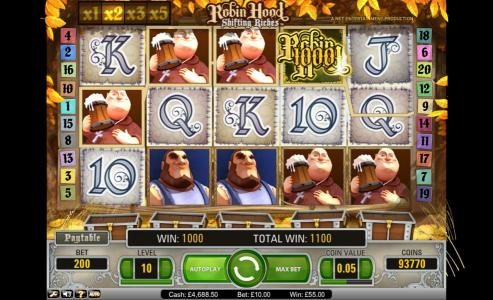 Rizk featuring the Video Slots Robin Hood - Shifting Riches with a maximum payout of $5,000
