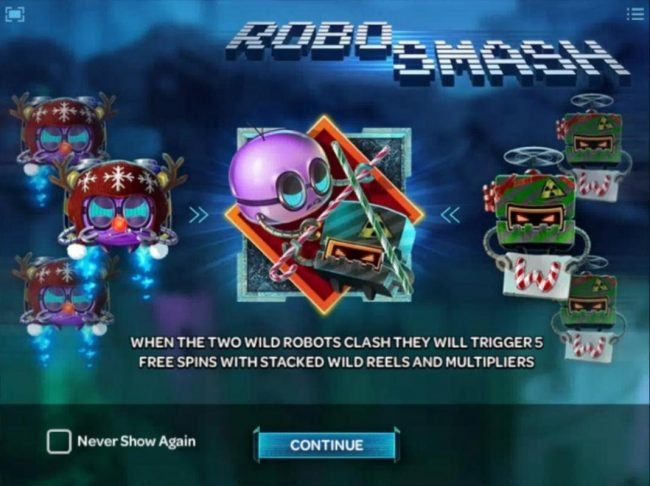 When the two wild robots clash they will trigger 5 free spins with stacked wild reels and multipliers.