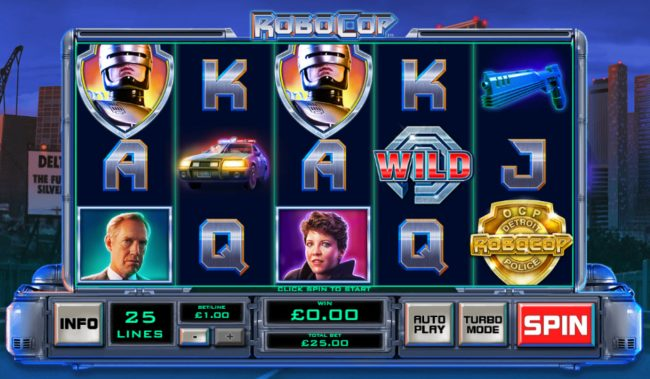 Windows featuring the Video Slots RoboCop with a maximum payout of $2,500