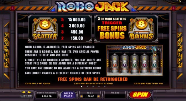 Scatter and Bonus symbols paytable. When bonus is activated, free spins are awarded. There are 5 robots, each has its own special power designed to help you win more. A robot will be randomly awarded, you may accept and start free spins or try for a diffe