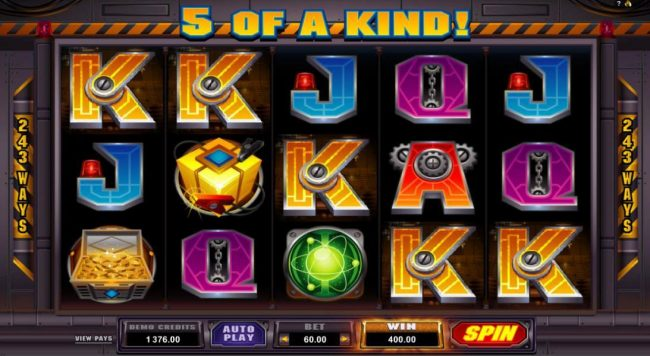 A five of a kind winning wombination triggers a 400.00 jackpot.