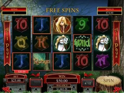 Slots Cafe featuring the Video Slots Robyn with a maximum payout of $125,000