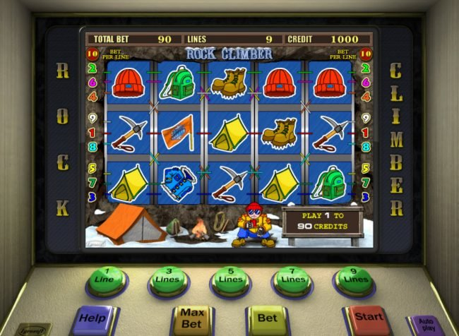 Play slots at Get Slots: Get Slots featuring the Video Slots Rock Climber with a maximum payout of $7,500