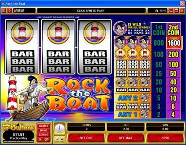 Play slots at First Web: First Web featuring the Video Slots Rock the Boat with a maximum payout of $7,000