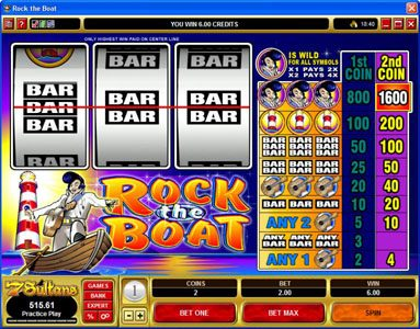 Euro Slots featuring the Video Slots Rock the Boat with a maximum payout of $7,000