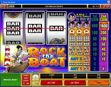 Casino Cruise featuring the Video Slots Rock the Boat with a maximum payout of $7,000