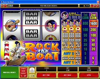 Casino Mate featuring the Video Slots Rock the Boat with a maximum payout of $7,000