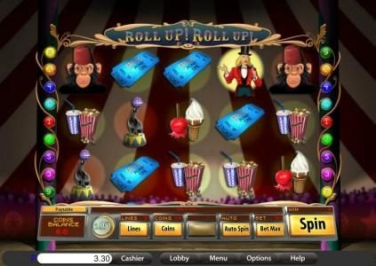 Play slots at Villa Fortuna: Villa Fortuna featuring the Video Slots Roll Up! Roll Up! with a maximum payout of $15,000
