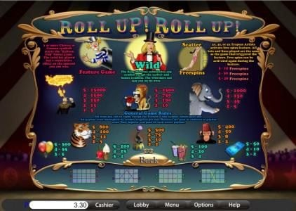 Big Dollar featuring the Video Slots Roll Up! Roll Up! with a maximum payout of $15,000