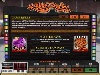 Wicked Jackpots featuring the Video Slots Roller Derby with a maximum payout of $10,000