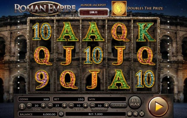 Roman Empire :: Main game board featuring five reels and 25 paylines with a $2,500,000 max payout.