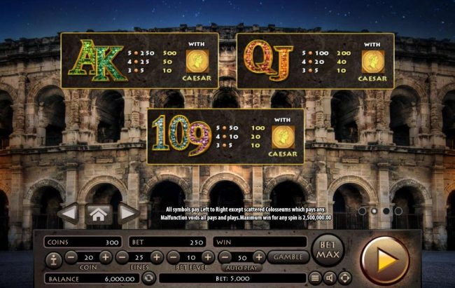 Roman Empire :: Low value game symbols paytable.