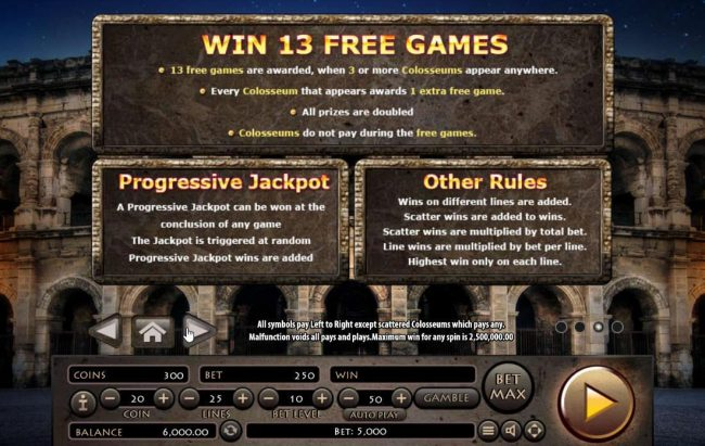 Roman Empire :: Free Games Rules, Progressive Jackpot Rules and General Game Rules.