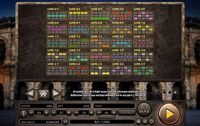 21 Dukes featuring the Video Slots Roman Empire with a maximum payout of $2,500,000