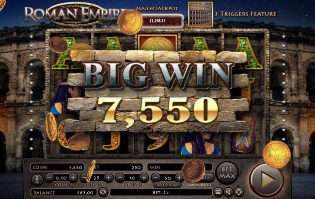 Roman Empire :: A 7,550 coin big win triggered.