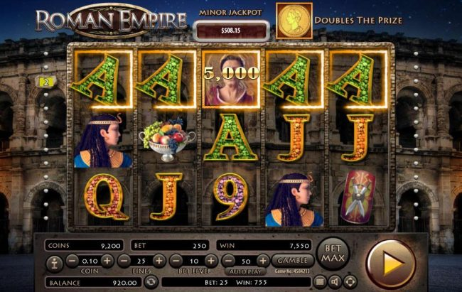 Roman Empire :: A winning Five of a Kind triggers a 5,000 coin line win.