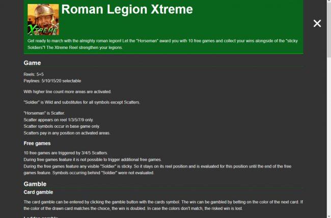 Roman Legion Xtreme :: General Game Rules