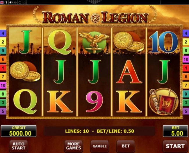 Malina featuring the Video Slots Roman Legion with a maximum payout of $5,000