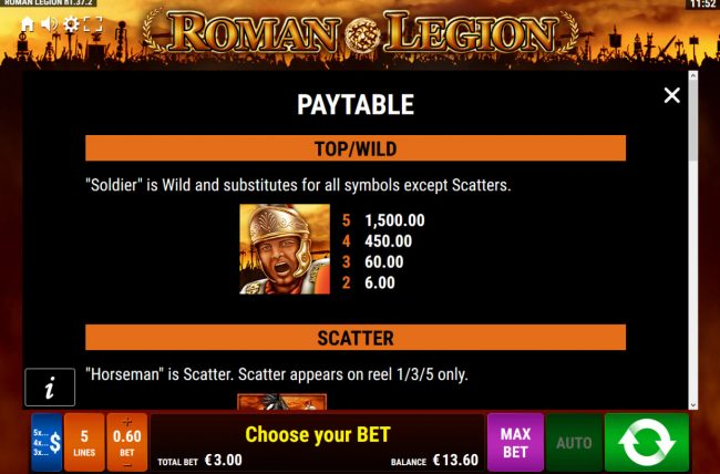 Casino Cruise featuring the Video Slots Roman Legion with a maximum payout of $7,500