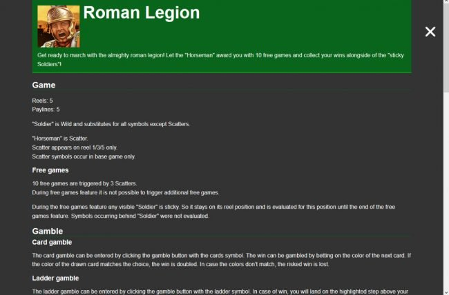 Play slots at Cbet: Cbet featuring the Video Slots Roman Legion with a maximum payout of $7,500