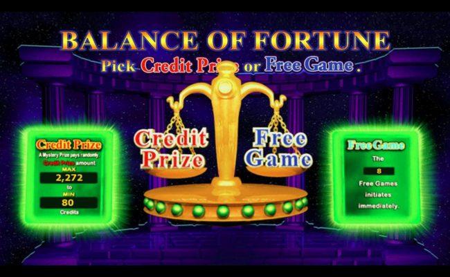 Pick Credit Prize or Free Game