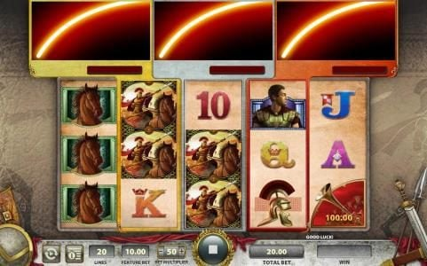 Vegas Spins featuring the Video Slots Roman Chariots with a maximum payout of $250,000