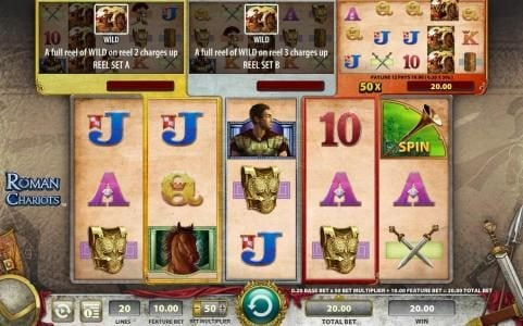 Leo Vegas featuring the Video Slots Roman Chariots with a maximum payout of $250,000