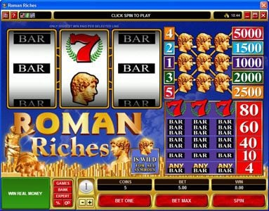 All British featuring the Video Slots Roman Riches with a maximum payout of $25,000