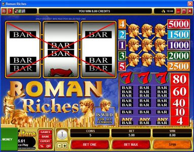 Maple featuring the Video Slots Roman Riches with a maximum payout of $25,000