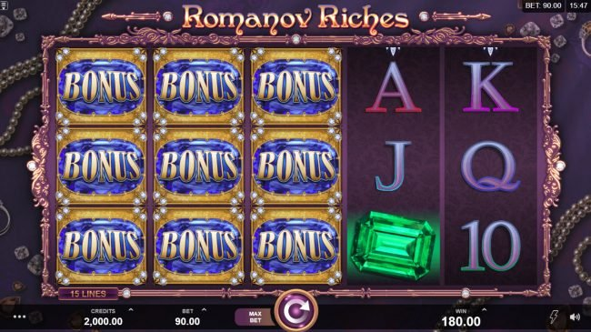 Crazy vegas featuring the Video Slots Romanov Riches with a maximum payout of $100,000