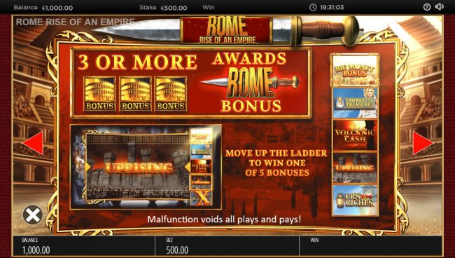 888 Casino featuring the Video Slots Rome Rise of an Empire with a maximum payout of $250,000