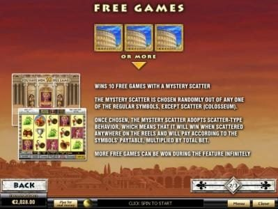 MANSION featuring the Video Slots Rome & Glory with a maximum payout of $100,000