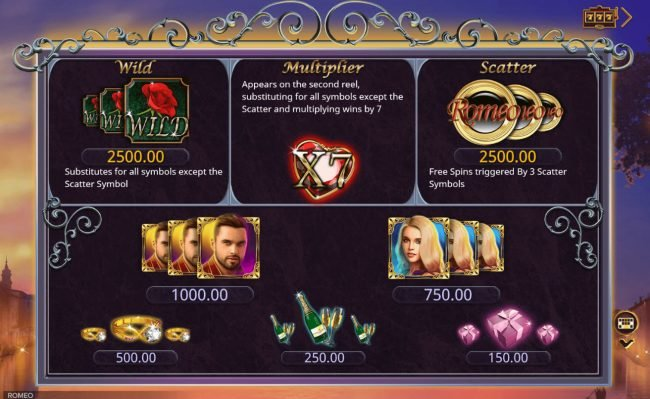 King Billy featuring the Video Slots Romeo with a maximum payout of $350,000